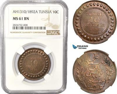 AC446 Tunisia, French Protectorate, 10 Centimes AH1310 (1892) A, Paris, NGC MS61