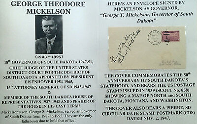 18th GOVERNOR SOUTH DAKOTA ATTORNEY GENERAL JUDGE SIGNED DOCUMENT/LETTER COVER !