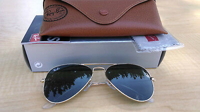 Womens Ray-Ban Aviator Sunglasses 3025 W3234 55 Gold Frame Green Lens Authentic