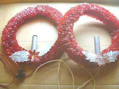2 VINTAGE ELECTRIC CHRISTMAS WREATHS ELECTRIC lighted CANDLE RED CELLOPHANE