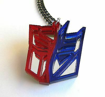 Transformers two face necklace Laser cut from red blue plastic