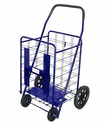 Jumbo Wheeled Folding Shopping Cart For Grocery Laundry, Black/Blue