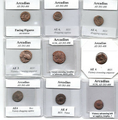 Lot of Nine Mid Range Ancient Roman Arcadius Coins, 383-408 AD, Largest 19 mm
