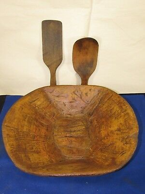 Vintage Primitive Wood Dough Bowl+2 Spoon-Paddles Mixing Kitchen Trencher Carved