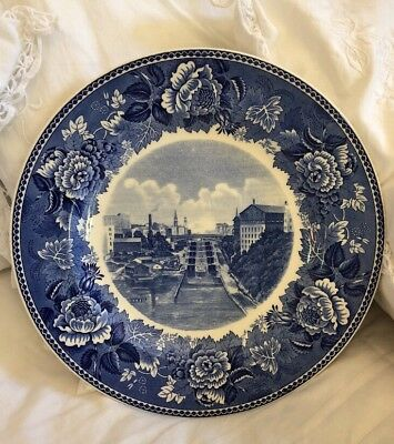 Antique Historic Lockport New York Plate WEDGWOOD commemorative ERIE CANAL Locks
