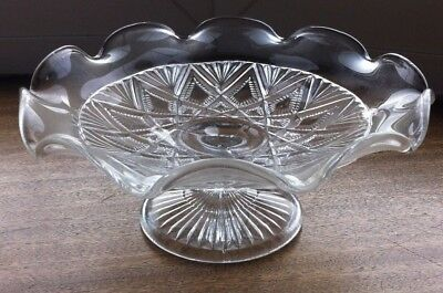 Vintage Art Deco Clear Glass Cake Stand ~ Scalloped Edges