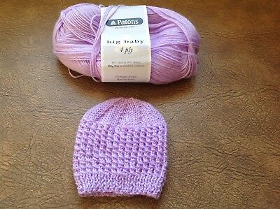 Hand Knitted Beanie for Small Newborn - Brand New - Lilac/Purple
