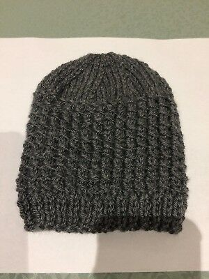 Hand Knitted Beanie for 0-6 months - Brand New - Grey