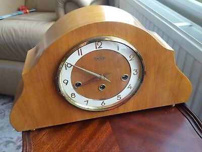 Vintage stylish Bentima 8 day chiming mantle clock 1960's. Floating balance