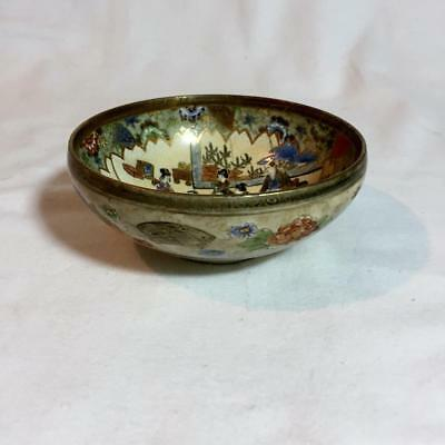 Antique Meiji Period Satsuma Two Panel Scenes Bowl Flowers