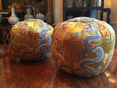 A Pair Rare and Important Chinese Qing Dynasty Embroidered Silk Dragon Pillows.