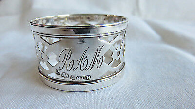 Beautiful Antique Gorham Sterling Silver Pierced Band Napkin Ring Initials Ram