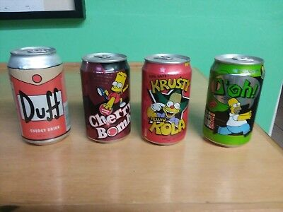 Lot of 4 UNOPENED SIMPSONS COLA CANS from UK Homer Bart Krusty Duff