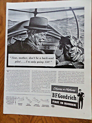 1942 B F Goodrich Tire Ad  Now Mother Don't be a Back Seat Pilot only going 150