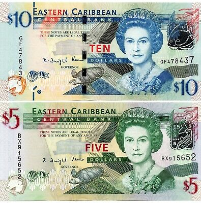 EAST CARIBBEAN STATES $10 & $5 Dollars Set 2 x UNC Banknotes