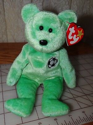 TY Beanie Baby ~ KICKS Soccer Bear ~ NEW with Tags and Error on Tag Retired