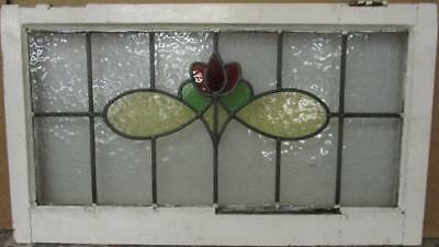 """OLD ENGLISH LEADED STAINED GLASS WINDOW TRANSOM Gorgeous Floral 29.5"""" x 16.75"""""""