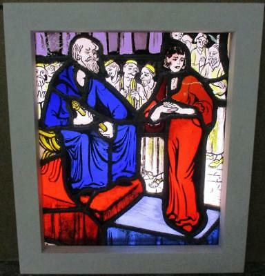 "VICTORIAN ENGLISH LEADED STAINED GLASS WINDOW Painted Medieval Scene 14.75""x17"""
