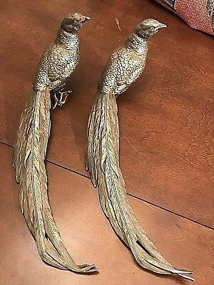 ANTIQUE PAIR JENNINGS BROTHERS SILVERPLATE TABLE PHEASANTS Marked JB 2460 15x6.5