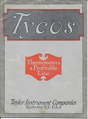 Tycos Thermometer Catalog from Taylor Instrument Co of Rochester - 1923