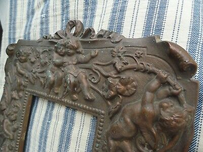 1800s VICTORIAN Brass or Bronze CHERUB PUTTI Picture Frame - Easel back - PATINA