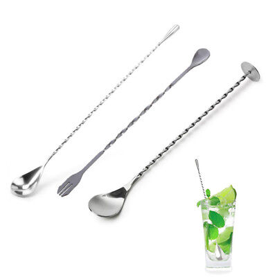 Stainless Steel Twisted Mixing Spoon Bar Cocktail Drink Mixer Stirring Tool