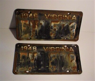 Pair of 2 Old Antique 1948 Virginia License Plates EH1-573 Embossed