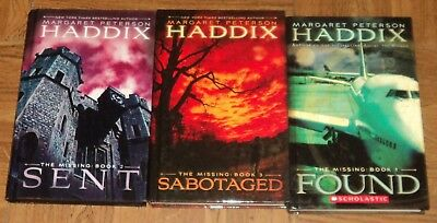 """""""THE MISSING"""" BOOK SERIES by Margaret Peterson Haddix - Lot of 3 Hardbacks Nice"""