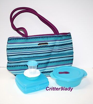 NEW Tupperware Stylish Stripes Lunch Set Insulated Expandable Bag Midget Bowl