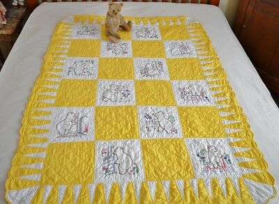 Antique Hand Stitched Teddy Bear Crib Quilt *