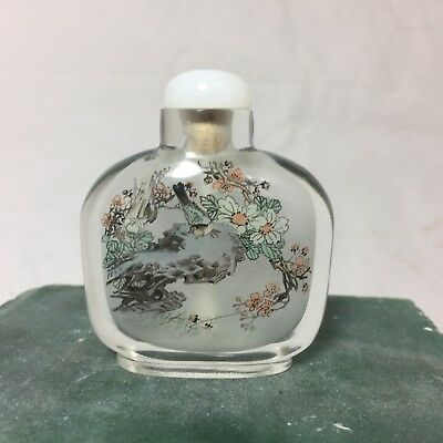 Chinese Glass Hand Painted Inside Snuff Bottle, Beautiful Mint Condition