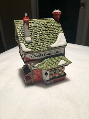 Dept 56 Dickens Village ~ T. Wells Fruit and Spice Shop ~ Near Perfect  59242