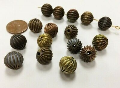 12 VINTAGE PATINA BRASS ROUND 12mm. CORRUGATED ASSORTED BEADS D420