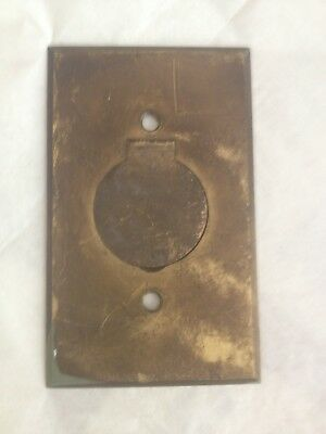 1 VINTAGE BRASS Antique Round Electric plug SWITCH Plate Wall W/ Flip Up Cover
