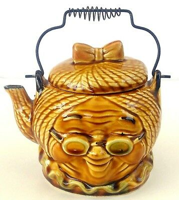 Vtg 60s Granny Head Teapot Metal Handle Gold Ceramic Japan 4 Cup Pot Old Lady
