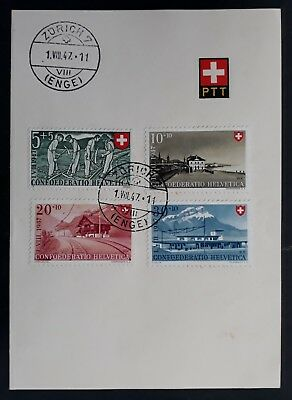 1947 Switzerland set of 4 pro Patria Railroad stamps on card CTO cancel