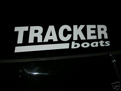 "TRACKER BOATS 20"" X 5"" Sticker White Bass Boat Fish You get 2 Decal"