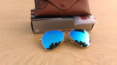 Womens Ray-Ban Aviator RB3025 112/17 55 sm. Gold Frame Flash Blue Lens Authentic