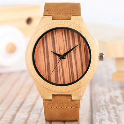 Men's Bamboo Cowhide Leather Strap Watch Wooden Case Analog Quartz Watch Gift