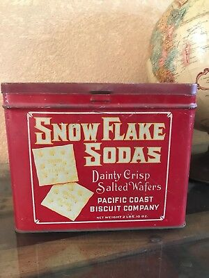 """SNOW FLAKE SODAS Dainty Crisp Salted Wafers 7"""" Tin- Antique Confections Tin"""