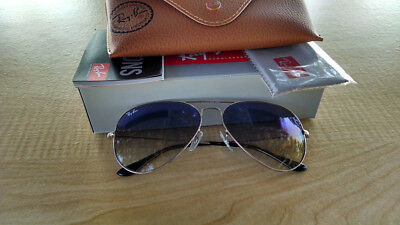 Womens Ray-Ban Aviator RB3025 003/3F 58 Silver with Blue Gradient Lens Authentic