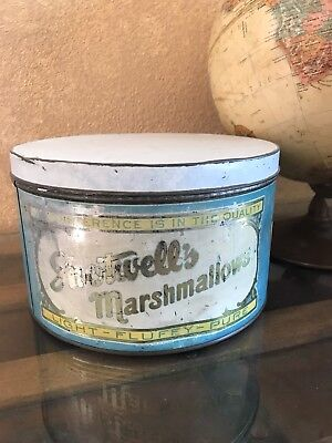 VIntage Shotwells Marshmallow Tin! Antique Confectionary And Candy.