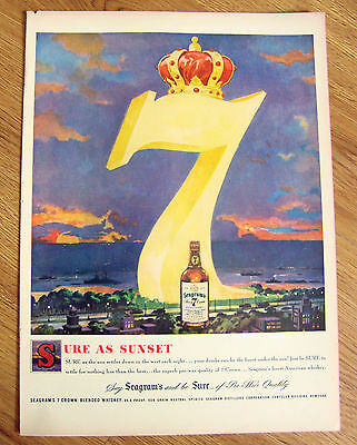 1949 Seagram's 7 Crown Whiskey Ad  Sure as Sunset