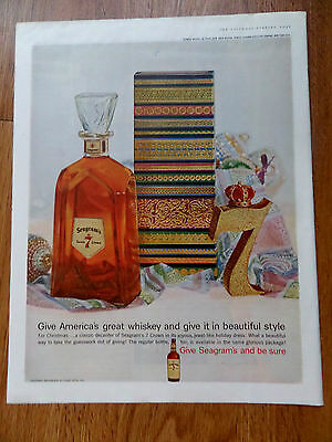 1959 Seagram's Whiskey Ad Give America's Great Whiskey & Give it Beautiful Style