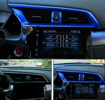 ABS Blue Dashboard Middle Air Vent Outlet Frame Trim For Honda CIVIC 2016-2018