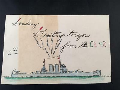 Vntg Soldier Sent WWII Christmas Navy Greeting Card Hand Colored CL42 Savannah
