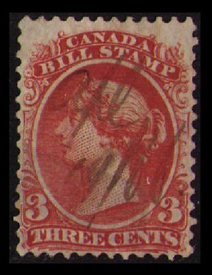1865 CANADA REVENUE QV VINTAGE 3c #FB20 USED SCARCE BILL STAMP CAT $5 SEE SCAN