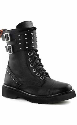 Demonia RIVAL-309 Spiked Cuff Ankle Boots Black Faux Vegan Leather Gothic Punk