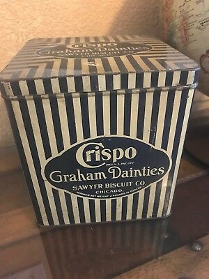 Antique Sawyer Biscuit Co. Tin - Crispo Graham's- Confectionary, Candy,