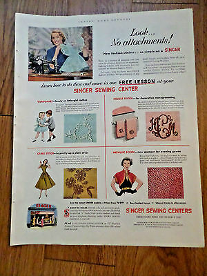 1952 Vintage Singer Sewing Machine Ad Look No Attachments